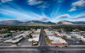 Aerial view of Hamilton Montana looking west down Main Street